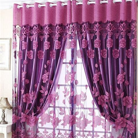 semi shade sheer rich flowers pattern curtains with tulle