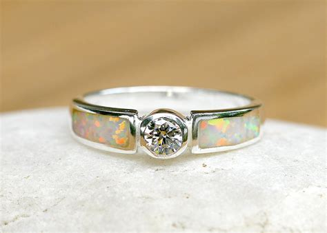 engagement ring opal ring geode ring october birthstone ring wedding ring cz moissanite