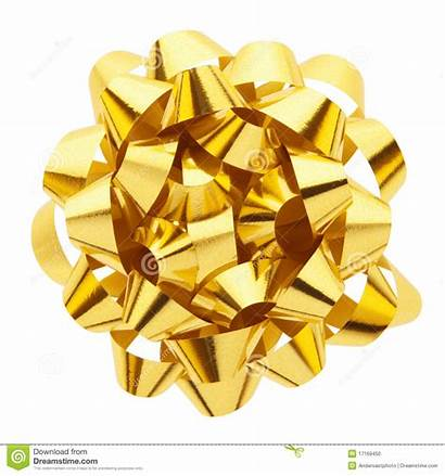 Gold Bow Gift Path Present Clipping Isolated