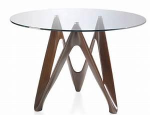 Table Verre Ronde : table ronde noyer plateau en verre perla dimensions d 120 x h 76 cm ~ Teatrodelosmanantiales.com Idées de Décoration