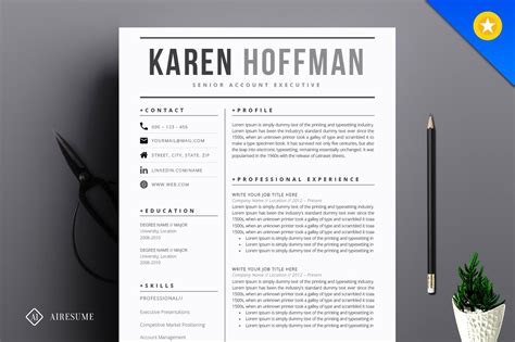 Contemporary Resume Templates by Modern Resume Template Resume Templates Creative Market
