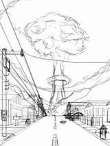 Atomic Bomb Drawing Explosion Drawings Sketch Cloud Paintingvalley Samplesofpaystubs Japan sketch template