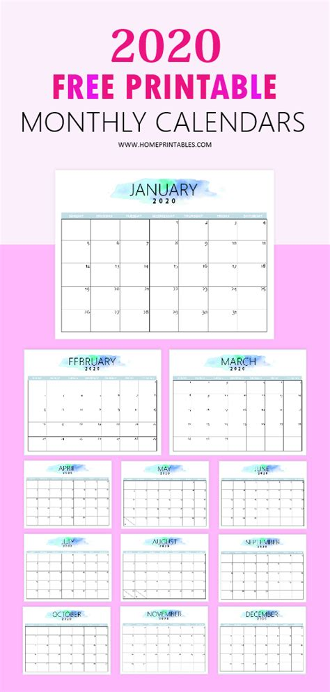 calendar printable simple pretty