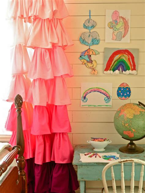 make ombre ruffled curtains using bed sheets hgtv