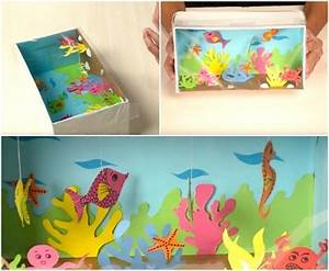 Aquarium Dekorieren Ideen : schuhkarton basteln kinder aquarium fische schnur kunst pinterest basteln schuhkarton und ~ Bigdaddyawards.com Haus und Dekorationen