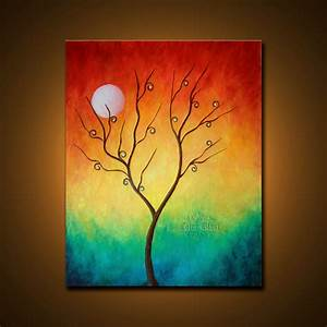 Original Oil Painting. Colorful Abstract Landscape Fine Art