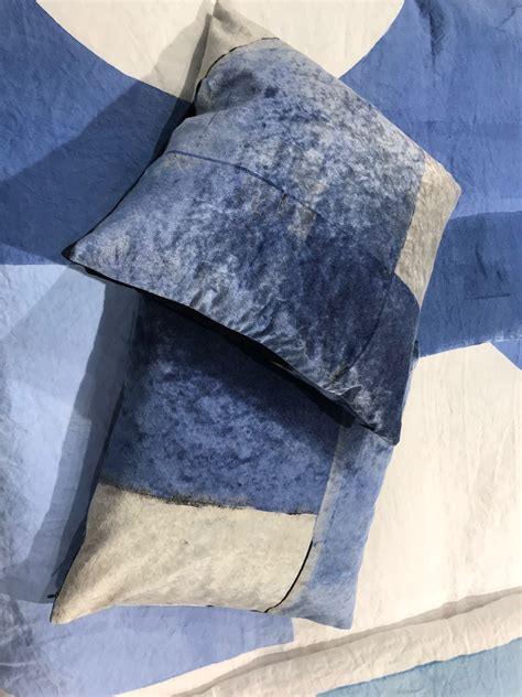 handcrafted velvet cushion covers  blue  stamperia bertozzi exhibited  maison objet