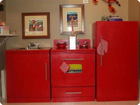 I Really Want To Makeover My Old Wood Play Kitchen-red