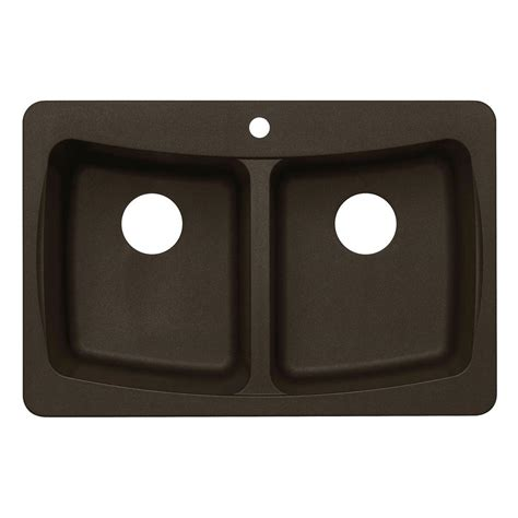 dual mount granite    hole double bowl kitchen sink