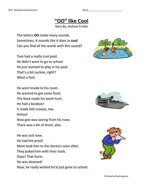 reading comprehension worksheet oo like cool