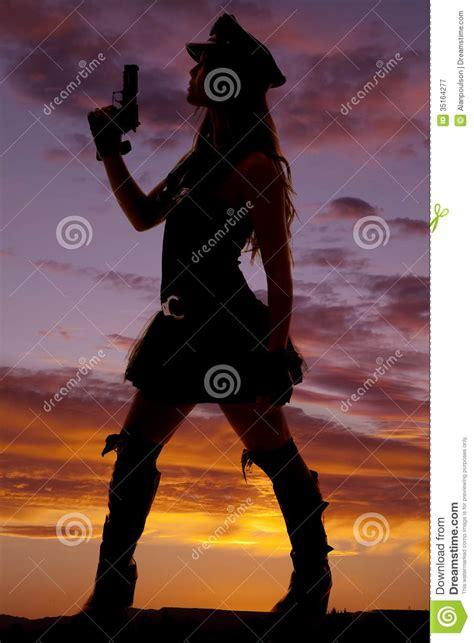 silhouette   woman  gun  royalty  stock