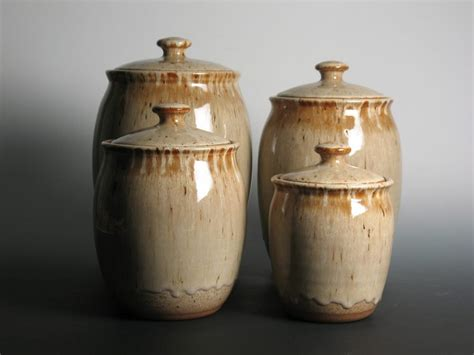 kitchen canisters canister set pottery stoneware kitchen canisters