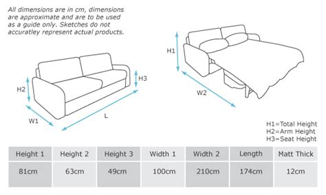size sofa bed dimensions