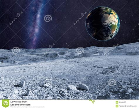 Planet Earth Distant Galaxy From The Moon Surface