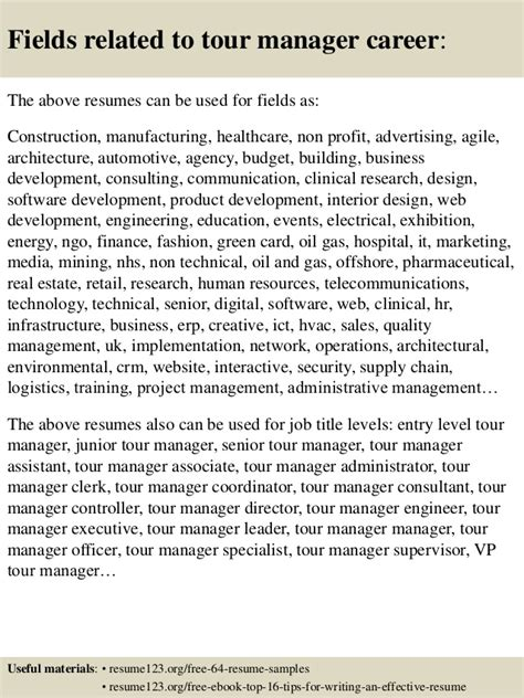 top 8 tour manager resume sles