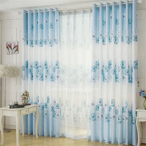 decorative blue and white curtains poly cotton blend