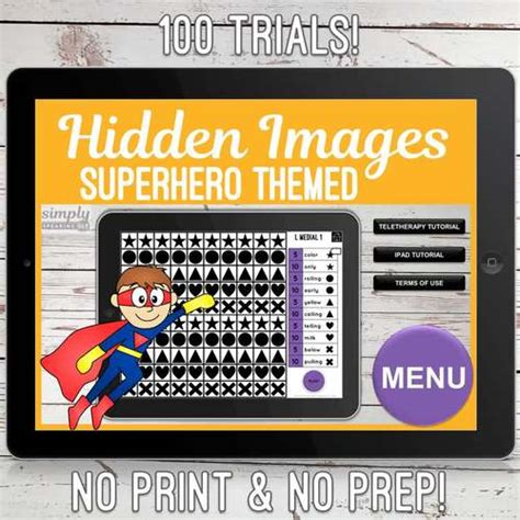 superhero theme  trials  print symbol hidden images