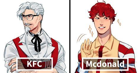 illustrator reimagines fast food mascots  anime