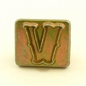 20mm decorative letter v embossing stamp artisanleather for Leather embossing letters