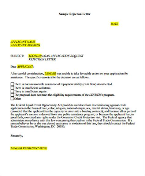 loan rejection letters   sample  format