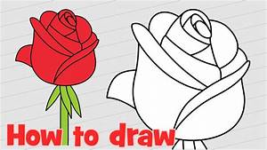 How to draw a rose step by step easy for kids and ...