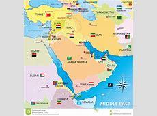 Carte De MoyenOrient Avec Des Drapeaux Illustration Stock