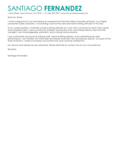 best part time sales associates cover letter exles
