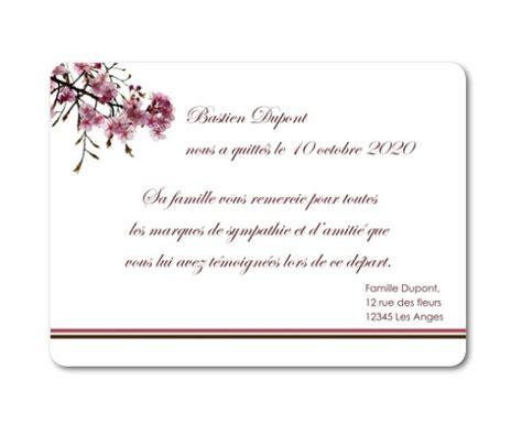 modele carte remerciement deces remerciement deces fleurs cerisiers planet cards