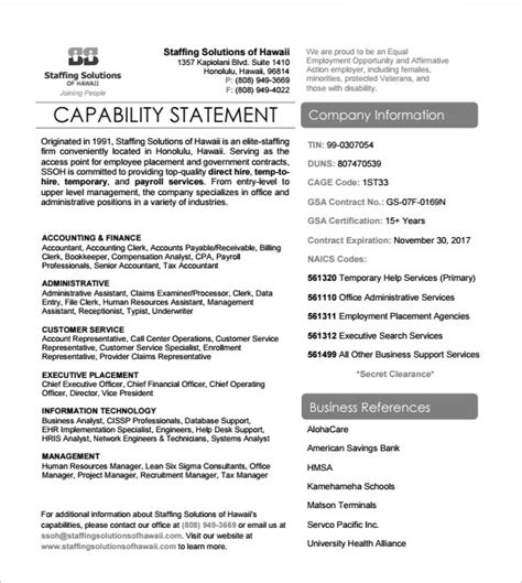 resume capability statement exles sle capability statement templates 13 free documents in pdf word