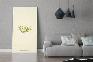 Free, Poster, In, Living, Room, Mockup