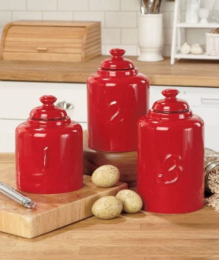 3pc Numbered Spreckeled Canister Sets Red Cream Mint