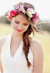 Couronne Fleur Cheveux Mariage : coiffure mariage couronne fleurs ~ Melissatoandfro.com Idées de Décoration