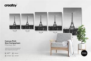 Canvas Print Size Comparison Mockup Creative Product