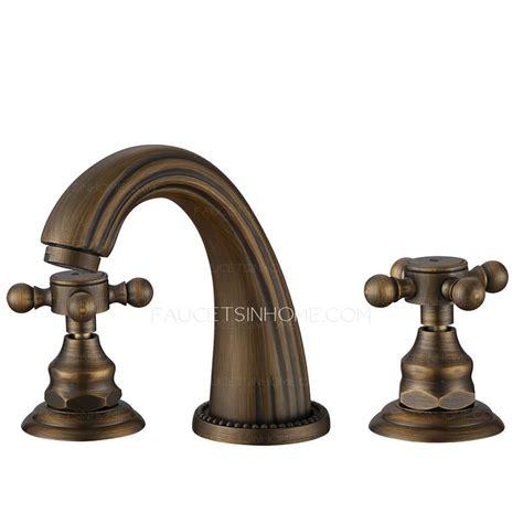 antique sink faucets antique bronze three holes cross handle bathroom faucets