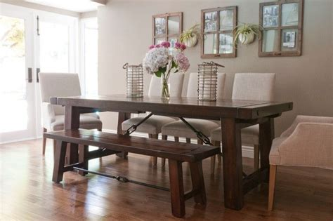 farmhouse table  upholstered chairs dining room
