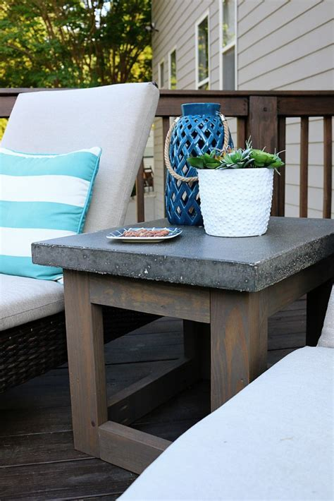 Concrete & Wood Outdoor Side Table   Bower Power