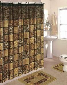 Bathroom sets leopard 15 piece bathroom set 2 rugs mats for Bathroom shower curtain and rug set