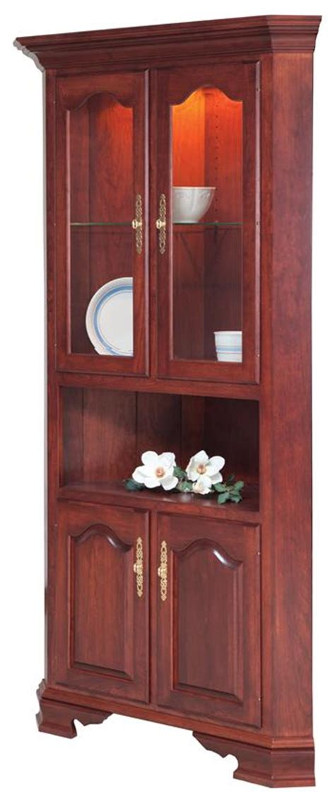 solid wood country corner hutch