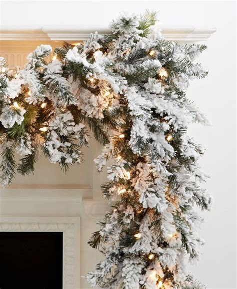 kurt adler 9 pre lit flocked norway garland christmas