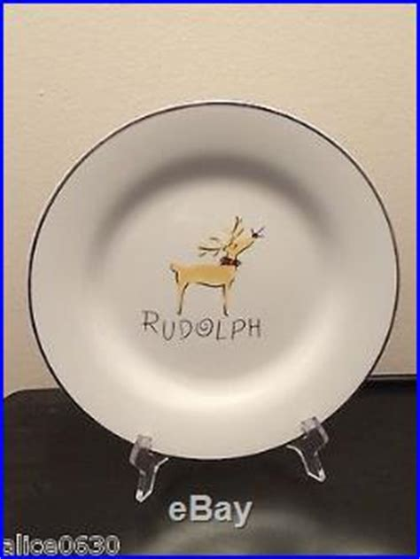 pottery barn reindeer plates new in box set of 4 pottery barn rudolph reindeer dinner
