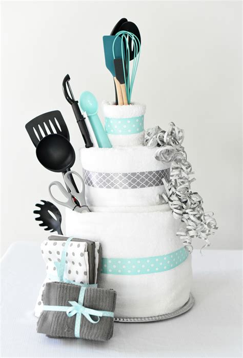 Kitchen Shower Ideas - bridal shower gift idea towel cake fun squared