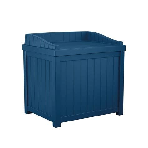 suncast resin deck box v suncast 22 gal navy blue small storage seat deck box