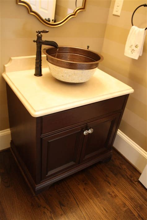 cool powder room  great neutral colors