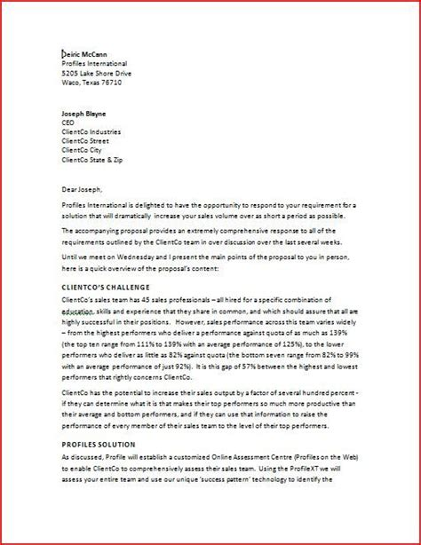 business proposal cover letter learn   increase