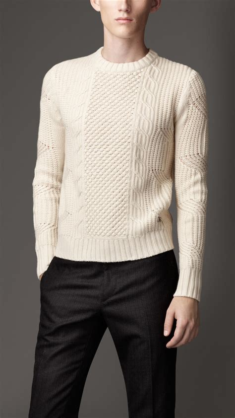 sweaters com burberry aran knit sweater in for lyst