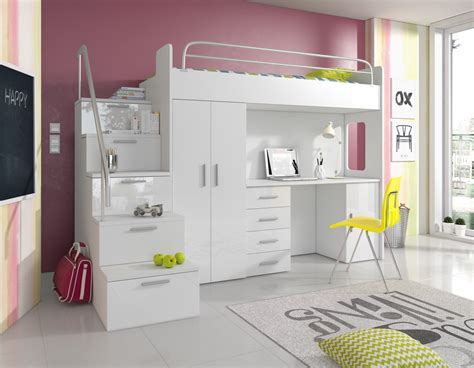 Hochbett Pati Mit Schreibtisch, Schrank Und Treppe Möbel