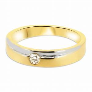 18ct Yellow Gold And White Gold 4mm Band With Round