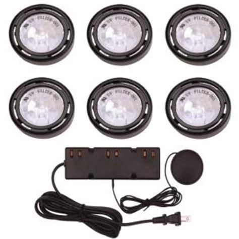 hton bay 6 light xenon black cabinet puck light