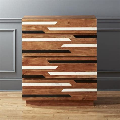 shop edie marble inlay tall chest white  black marble