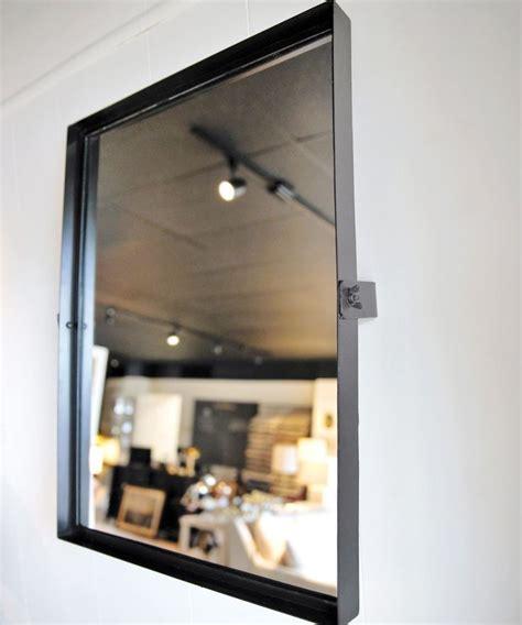 rectangular pivot mirror modern black iron frame